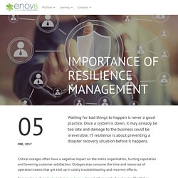 Importance of Resilience Management - enov8