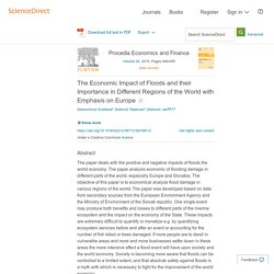 The Economic Impact of Floods and their Importance in Different Regions of the World with Emphasis on Europe - ScienceDirect