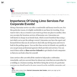 Importance Of Using Limo Services For Corporate Events!