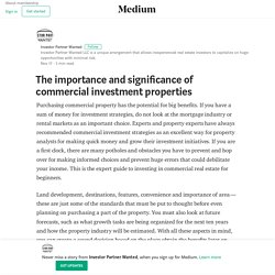 The importance and significance of commercial investment properties