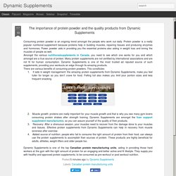 The importance of protein powder and the quality products from Dynamic Supplements