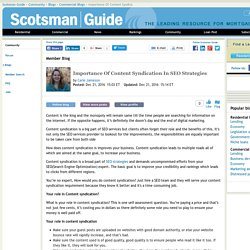Importance Of Content Syndication In SEO Strategies - Scotsman Guide