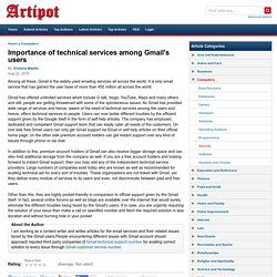 Importance of technical services among Gmail's users