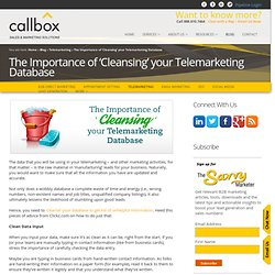 The Importance of 'Cleansing' your Telemarketing Database