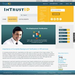 Importance of Complete Background Verification in HR services