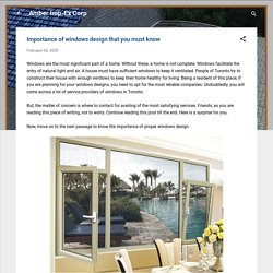 Importance of windows design that you must know