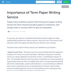 Importance of Term Paper Writing Service