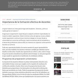 Importancia de la formación efectiva de docentes - Blog sobre Educación
