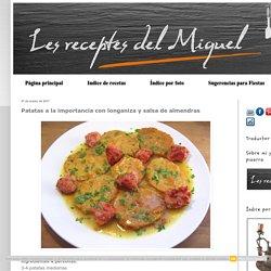 Patatas a la importancia con longaniza y salsa de almendras