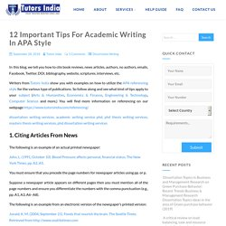 12 Important Tips For Academic Writing In APA Style