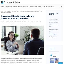 Important things to research before appearing for a Job Interview