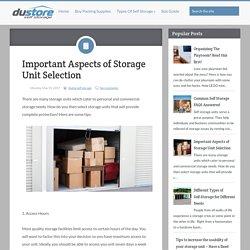 Important Aspects of Storage Unit Selection ~ Du-store Secure Dubai Self Storage