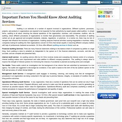 Important Factors You Should Know About Auditing Services by Avinash Mittal