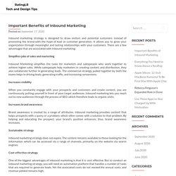 Important Benefits of Inbound Marketing - RatingLR