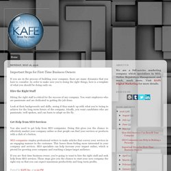 KAFE, Inc.: Important Steps for First-Time Business Owners