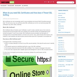 How important is SSL Certificate to thwart SSL Sniffing