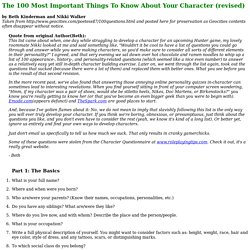 The 100 Most Important Things To Know About Your Character (revised)