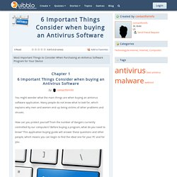 6 Important Things Consider when buying an Antivirus Software