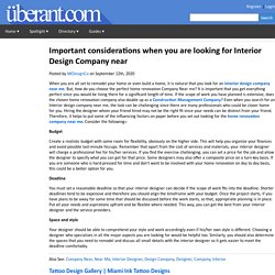 Important considerations when you are looking for Interior Design Company near