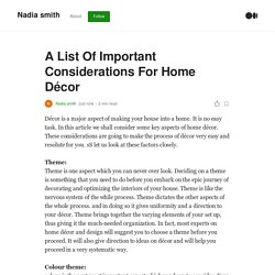 A List Of Important Considerations For Home Décor