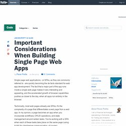 Important Considerations When Building Single Page Web Apps