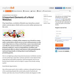5 Important Elements of a Hotel Websites