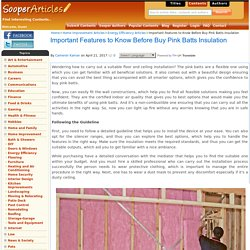Important Features to Know Before Buy Pink Batts Insulation