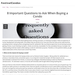 8 Important Questions to Ask When Buying a Condo - FestivalCondos