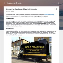 Important Furniture Removal Tips: Gold Removals