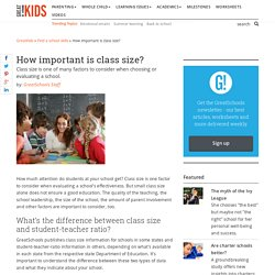 How important is class size? - Defining your ideal school