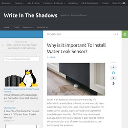 Why is it important To Install Water Leak Sensor? - Write In The Shadows
