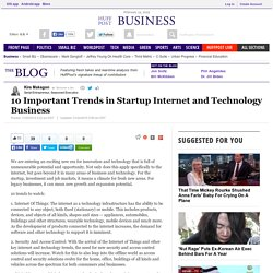 10 Important Trends in Startup Internet and Technology Business