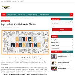 Important Guide Of Article Marketing Education