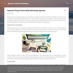 Important Things Performed By Web Design Agencies