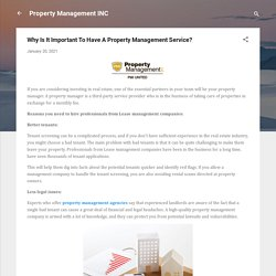 Why Is It Important To Have A Property Management Service?