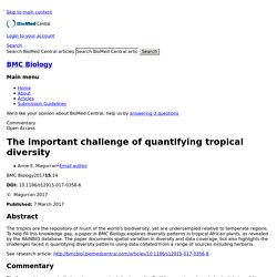 The important challenge of quantifying tropical diversity