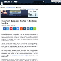 Important Questions Related To Business Leasing