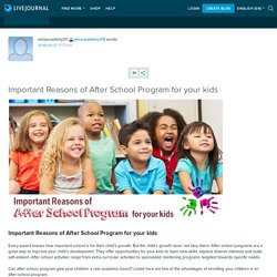 Important Reasons of After School Program for your kids: wmaacademy01