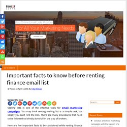 Important facts to know before renting finance email list – Pioneer Lists's Blogs