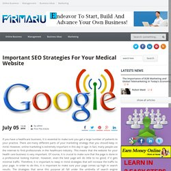 Important SEO Strategies For Your Medical Website