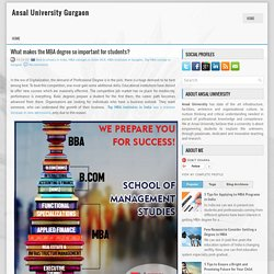 What makes the MBA degree so important for students? ~ Ansal University Gurgaon
