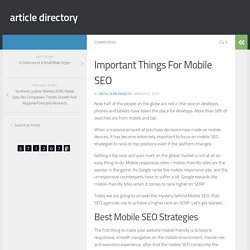 Important Things For Mobile SEO