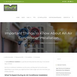 Important Things to Know About An Air Conditioner Installation
