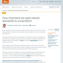 How important are open ebook standards to universities?
