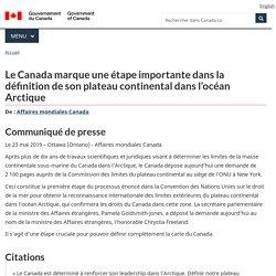 Le Canada marque une étape importante dans la définition de son plateau continental dans l'océan Arctique