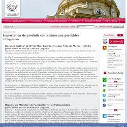JO SENAT 06/08/20 Réponse à question 12148 : Importation de produits contaminés aux pesticides (Brésil)
