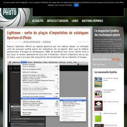 Lightroom : sortie du plug-in d'importation de catalogues Aperture et iPhoto