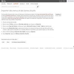 Importer des menus et des barres d'outils - Access