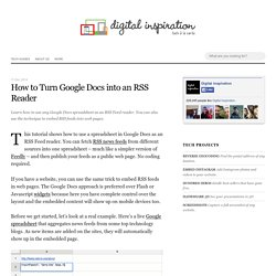 ImportFeed in Google Docs Tutorial - Use Google Docs as an RSS Reader