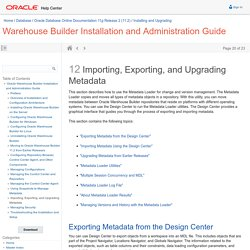 Importing, Exporting, and Upgrading Metadata